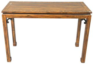 """Grain Painted Hall Table, Chinese design, height 29 inches, top 19"""" x 42""""."""