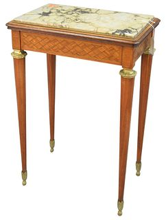 Louis XVI style tulipwood stand with marble top and parquet inlaid drawer front on octagon legs and brass sabot feet, circa 1900, height 29-1/2 inches
