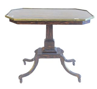 """Victorian Console Table, with brass top surround, raised on quad base, height 28 inches, top 18 3/4"""" x 33""""."""