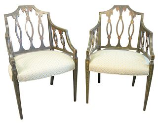 Pair George IV Paint Decorated Arm Chairs, with newly upholstered seats, England, c. 1800, height 35 inches.
