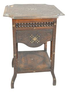 Moorish Carved Table, with shaped top; having retractable, mechanical side shelves and mother of pearl inlay, Middle Eastern, late 19th Century, heigh