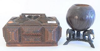 Two piece lot to include a tramp art lidded box with handle, height 5-1/2 inches, along with a Burmese carved coconut bowl with carved elephant feet,