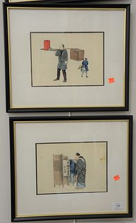 """Group of Seven Framed Chinese Figural Watercolor and Gouache on Paper, all unsigned, sight size 7 1/2"""" x 10"""", each."""