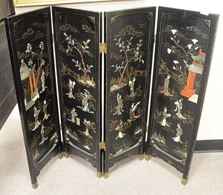 Japanese Four Panel Screen, with carved pagodas and Geisha figures, height 38 1/4 inches, width 48 1/2 inches.
