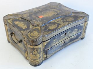 Chinese Black Lacquered Sewing Box, with hinged lid over one drawer, height 5 1/2 inches, width 14 1/4 inches, depth 10 1/2 inches.