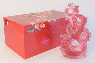 Liuligongfang glass sculpture of a Koi riding waves in a fitted box, height 10-1/2 inches (figure).