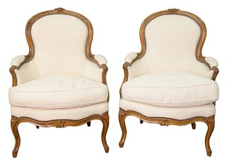 Pair Louis XV Style Bergeres, in custom upholstery, height 36 inches, along with Claremont fabric, Palmadamask, George Spencer pattern.