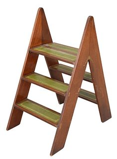 Mahogany Library Steps with leather tops, height 33 inches.