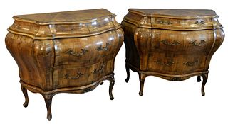 Pair Louis XV Style Inlaid Commodes, Bombay form, one brass missing, height 32 inches, width 39 inches.