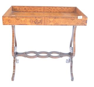 """Victorian Style Bar Table, with parquetry inlaid top, having lyre supports, height 29 inches, top 15 1/2"""" x 30""""."""