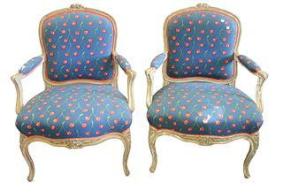Pair Louis XV Style Fauteuil, (three holes in upholstery), height 37 inches.