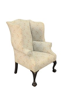 Margolis Mahogany Chippendale Style Wing Chair, seat height 29 inches, total height 45 inches, width 32 1/2 inches.  Provenance: From a Glastonbury, C