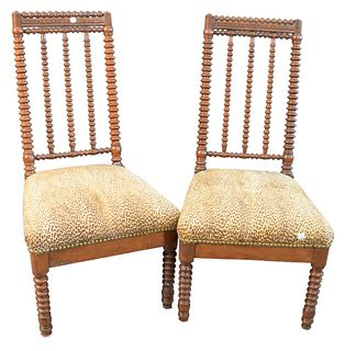 Three Piece Lot, to Include pair of Jenny Lind Spool Chairs, with spiral turned backs, over leopard skin, upholstered seats, raised on spiral turned l
