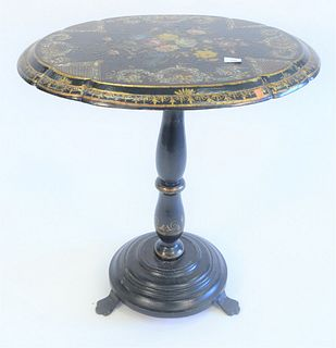 """Papier Mache Tip Table, with painted and mother of pearl inlay, on pedestal base, (one chip to edge), height 29 inches, top 23"""" x 29""""."""