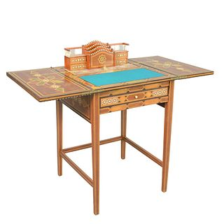Middle Eastern Style Table/Pop Up Desk, with letter holder and felt writing surface (veneer chipped at top center), height 29 1/2 inches, open top 21