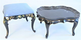 Two Piece Lot to include Louis XV Style Tabouret, having custom blue upholstered top, over ebony, gilt, and paint decorated base and cabriole legs, he