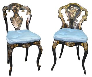 Victorian Papier Mache and Black Lacquered Side Chair, with mother of pearl inlay and gilt decoration, having upholstered seat cushion, seat height 19