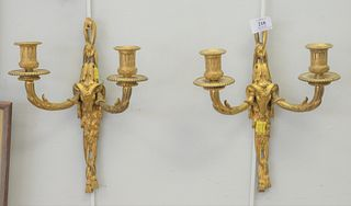 Pair French Gilt Bronze Sconces, two-light, with rams heads mask, height 13 inches.