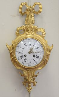 Tiffany & Company Gilt Bronze Louis XV Style Clock, enameled dial marked Tiffany & Company and marked France, height 17 inches.