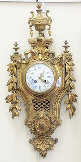 Louis XV Style Brass Wall Clock, with porcelain dial, height 26 inches.