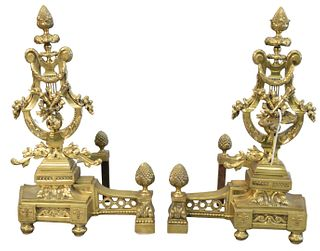 Pair of large French style Brass chenets, these andirons are in the form of a harp, height 25 inches.