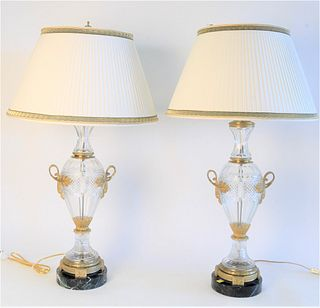 Pair French Crystal and Bronze Table Lamps, having bronze mounts on round marble bases, height 32 1/2 inches.
