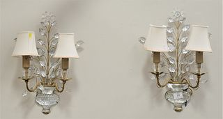 Pair of Two-Light Candle Sconces, having glass urn form bottom, with glass flowers and leaves, height 20 inches.