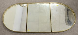 Neoclassical Three Part Mirrored Tray, having brass gallery, length 46 inches, width 20 1/4 inches.