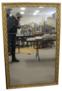 """George III Style Rectangular Two-Part Mirror, having gilt and jeweled openwork frame, possibly Irish, 60"""" x 38""""."""