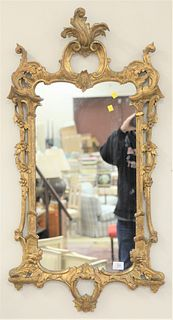 """Chinese Chippendale Style Mirror, with gilt carved frame, Decorative Arts label on back, 43"""" x 22""""."""