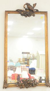 """Chippendale Rectangular Mirror, with carved eagle crest (missing head), 48"""" x 26""""."""