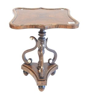 """Rosewood Stand, with shaped shaft and scroll supports, on tripod base, probably 19th Century, height 21 1/2 inches, top 15 1/2"""" x 17""""."""