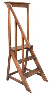 George IV Mahogany Library Stairs, with book rest top, height 61 inches, width 22 inches.