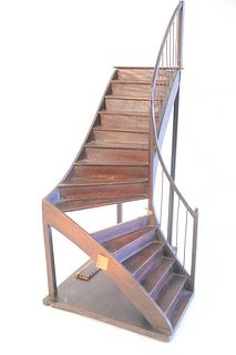 Diminutive Architectural Staircase Model, with railing, height 18 1/2 inches.