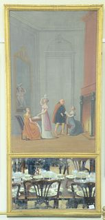 """French Trumeau Mirror, oil on canvas, having large painted interior scene with figures 19th century, 62 1/2"""" x 28 1/2""""."""