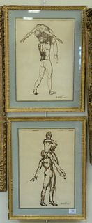 """Two Robert Winthrop White (1921 - 2002), brown ink sketches of dancers, each signed lower right Robert White, and matted in gilt frames, each 14 1/2"""""""