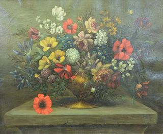 """Dutch School Large Still Life, early 20th Century, with red and yellow flowers, oil on canvas, signed indistinctly lower right, 25"""" x 30 1/2""""."""