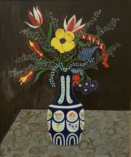 Two Piece Lot, to include Sophy Regensburg (American, 1885 - 1974), still life with flower arrangement, oil on canvas, signed lower right: Sophy Regen