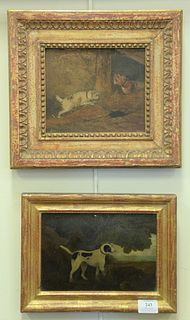 Three Piece Lot, of small hunting dog paintings, to include one scene hunting a fox; an interior scene with two terriers; along with a hound in a land