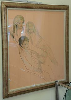 """Large Framed Pastel, on paper, of mother and two children, signed indistinctly and dated 1970 lower right, sight size 45"""" x 40""""."""