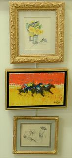 Four Piece Group, to include Willering Epko, oil on canvas, horse race, signed lower right; Lazzaro Donati, lithograph in colors on paper of figures,