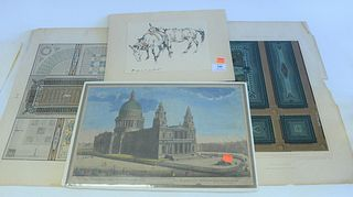 One Large Group of Unframed Prints, to include a few botanical engravings, several German interior scene engravings, two religious hand-colored engrav