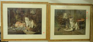 """Two Framed Chromolithographs of Kittens, """"Mixing the Colors"""" and """"Anxious Moments"""", both after """"Brunelli"""", each image 20"""" x 24 1/2""""."""