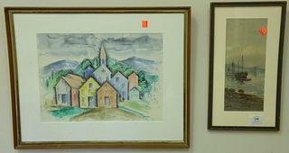 """Three Piece Painting Group, to include George Marinko (1908 - 1989), village scene with building and figures, watercolor, signed lower right, 11"""" x 14"""