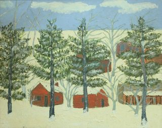 """Edna Kuriloff (Russian, b. 1889), village in winter, oil on canvas, signed lower left: E. Kuriloff (signature obscured by frame), 24"""" x 30 1/4""""."""