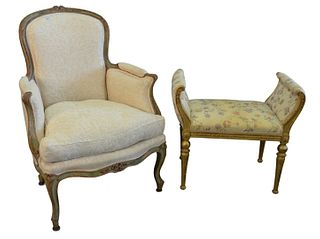 Two French Pieces, to include Louis XV style bergere in green paint, with ribbon carved frame and seat raised on foliate carved cabriole legs; the pad