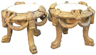Pair of Large Louis XVI Style Carved Jardiniere Stands or Tabourets, gilt decorated with marble tops, on paw feet, height 17 inches, marble diameter 1