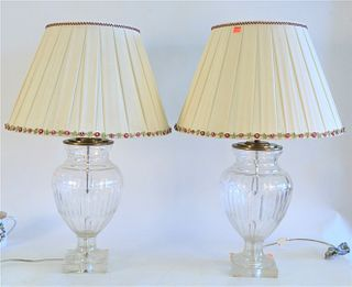 Pair of Urn Shaped Crystal Lamps with custom silk shades, height 24 inches.