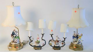 Two Pairs of Figural Table Lamps, to include pair of German porcelain figural lamps, on pierced brass bases, not marked, height 23 inches; along with