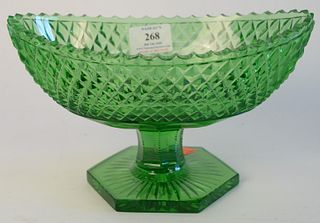 """Green Diamond Cut Crystal Shaped Compote, height 6 inches, top 6"""" x 10""""."""